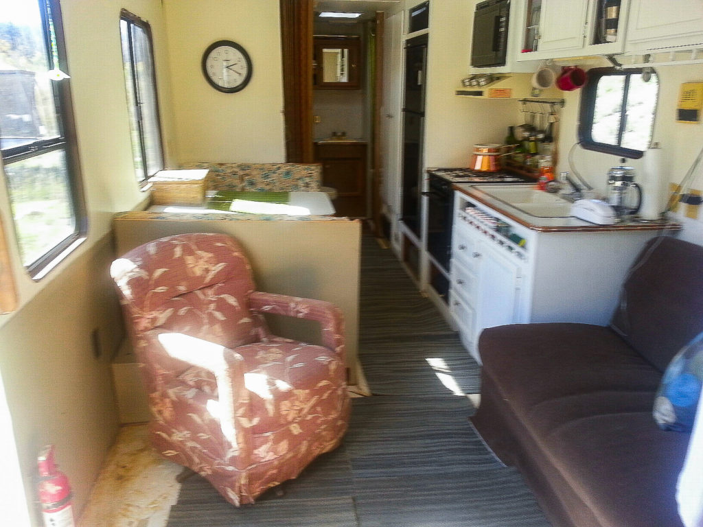 Picture of the inside of old camper on the homestead