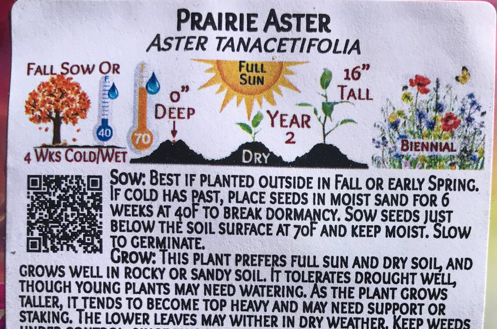 Seed packet gives instructions that seeds need cold stratification